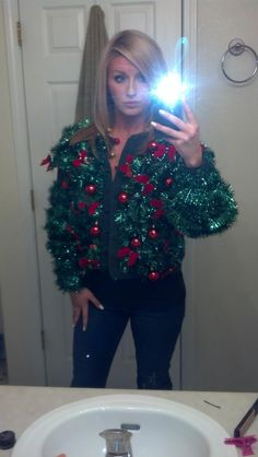 DIY ugly sweater... Garland, bows, and ornaments...