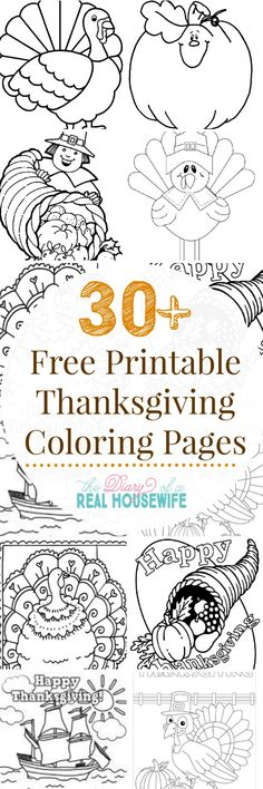 Easy Thanksgiving Fun Printable Coloring Pages For