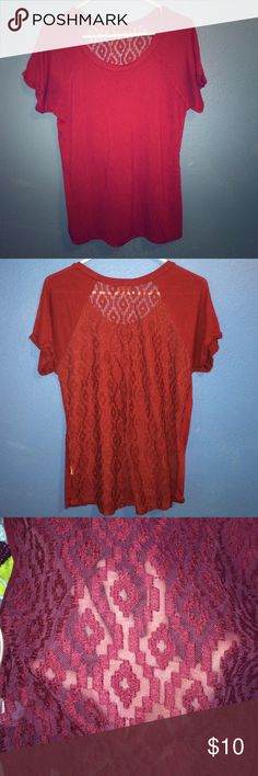 Maroon blouse Very soft nylon fabric, the back is a crotchet affect and the back is see through :) Tops Blouses