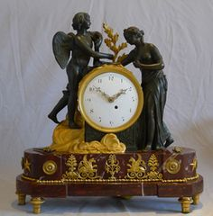Antique English Regency Neo-Classical Mantel Clock Of Psyche And Cupid Made If Marble, Patinated Bronze And Original Ormolu   c. 1805