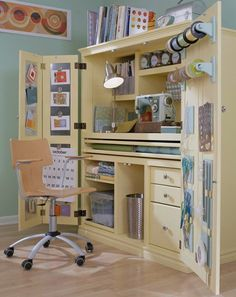 Organize Your Sewing Room | AllPeopleQuilt.com; metal hot-glued to inside door for using magnates to hold inspiration pieces