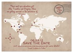 World Map Destination Save the Date by My Sweetie Pie