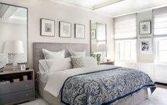Me gusta la colcha azul y las lamparas y espejos :)