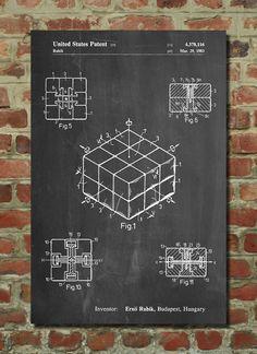 Rubiks Cube Poster Rubiks Cube Patent Rubiks Cube Print Rubiks Cube Art Rubiks Cube Decor Rubiks Cube Wall Art