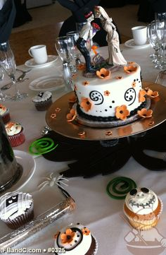 "Design W 0325   6"" Halloween Themed Butter Cream Wedding Cake & Assorted Cupcakes   Custom Quote"
