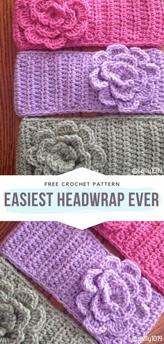 Easy Flower Headbands Free Crochet Patterns - - Accessorizing is the best way to transform your look in a second. Headbands are very on-trend right now, especially if you choose bold colors and. Crochet Flower Headbands, Crochet Flowers, Knit Headband, Baby Headbands, Easy Crochet Projects, Easy Crochet Patterns, Free Crochet Headband Patterns, Crochet Ear Warmer Pattern, Bonnet Crochet