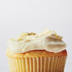 Joanne Chang's moist, lemony cupcake recipe yields fresh-tasting and not overly sweet treats by swapping in honey for refined sugar. 012015 Lemon Frosting Recipes, Lemon Desserts, Lemon Recipes, Cupcake Recipes, Just Desserts, Wine Recipes, Sweet Recipes, Baking Recipes, Delicious Desserts