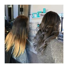 From dip dye to a stormy grey and brunette colour melt! • Lauren's client infused her locks with tons of grey dimension! • Styled with loose waves