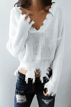 $36.99 Fashion Deep V Neck Solid Color Long Sleeve White Sweater