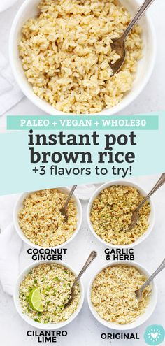 Instant Pot Brown Rice - How to cook brown rice in an Instant Pot perfectly every time ways to flavor it--Cilantro Lime, Garlic Herb & Coconut Ginger! Healthy Rice Recipes, Vegetarian Recipes, Cooking Recipes, Vegan Brown Rice Recipes, Brown Rice Cooking, Potato Recipes, Easy Recipes, Instant Brown Rice Recipe, Cilantro Lime Brown Rice