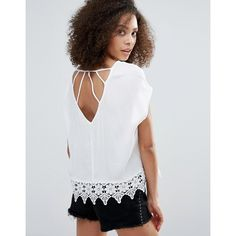 Dex Caged Back Blouse With Lace Detail (51 CAD) ❤ liked on Polyvore featuring tops, blouses, cream, caged top, rayon tops, macrame top, crochet blouse and crochet top
