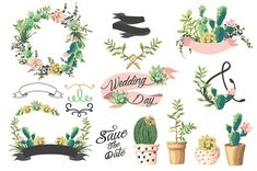 VECTOR Wedding graphic set with succulents by GraphicSafari