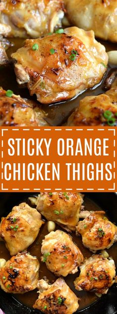 Sticky Orange Chicken Thighs The Schmidty Wife This recipe for sticky orange glazed chicken thighs is a weeknight dinner full of flavor With a sauce made from simple ingredients turn a family pack of chicken thighs into a meal your family will devour Easy Chicken Thigh Recipes, Chicken Thights Recipes, Baked Chicken Recipes, Chicken Thigh Meals, Chicken Thigh Casserole, Chicken Ideas, Fast Dinners, Easy Meals, Chicken Thighs Dinner