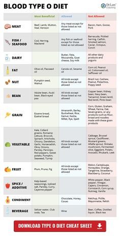 Blood Type Diet Chart – Type O O Blood Type, Metabolic Diet, Squash  Nutrition,