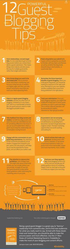 12 guest blogging tips to increase your blog traffic www.socialmediamamma.com Blogging infographic