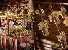 Love the tablecloth ribbons or streamers too! DIY Baby's Breath, Burlap & Lace Wedding Ideas | Confetti Daydreams