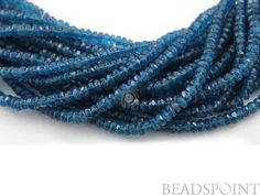 "Natural ""NO TREATMENT"" Apatite Micro Faceted Rondelles,  AAA Quality Gemstone Beads 3mm, 1 Strand ( APNEON3Rndl)"