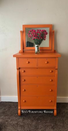 Annie Sloan Barcelona Orange Dresser By Jen S Furniture Rehab This Empire Style Dresser Was Custom Painted For A Client With Chalk Paint By Annie Sloan In Barcelona Orange That Was Simply Sealed With Clear Soft Wax Orange Painted Furniture, Chalk Paint Furniture, Colorful Furniture, Furniture Makeover, Diy Furniture, Modern Furniture, Dresser Furniture, Annie Sloan, Orange Dresser