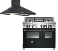 Master Series AD905MFENEE Dual Fuel Range Cooker with Brioso 90G Chimney Cooker Hood - Matte Black