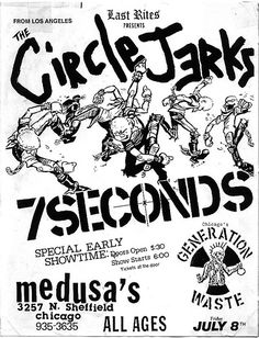 Circle Jerks, 7 Seconds punk hardcore flyer