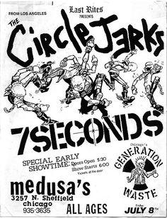 Circle Jerks, 7 Seconds punk hardcore flyer