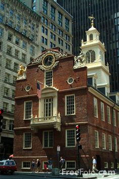 The Old State House was the seat of all English control in colonial Boston. On July 18, 1776, citizens gathered to hear the Decl. of Independence read from the balcony. In front of this bldg was the Boston Massacre. On July 4, 1976, Queen Elizabeth and Gerald Ford read part of the Decl. from the balcony & the Mayor gave her a check for $50,000, the value of the tea thrown in the harbor during the Boston Tea Party. Bought by Chicago in 1876, it was to be moved there but was saved by the…