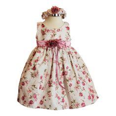 BIMARO Baby Mädchen Babykleid Emma rosa creme beige geblümt Kleid Baby festlich Haarband Taufkleid Hochzeit Taufe