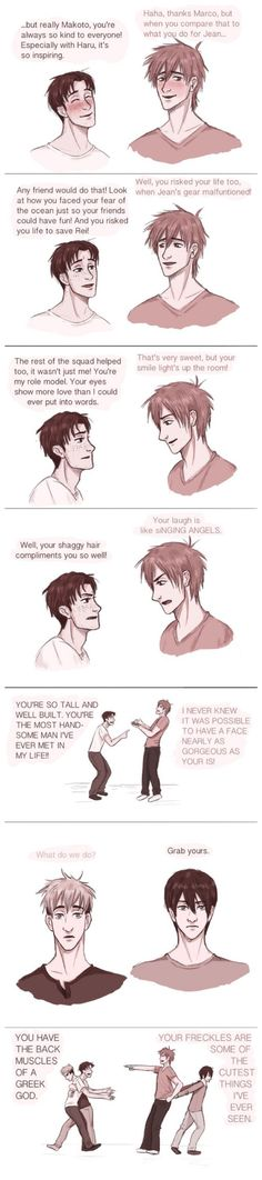 Attack on Titan / Free! ~~ Marco and Makoto compare notes... until Jean and Haruka have to break it up. :: THIS IS GREAT!!