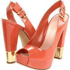 Jessica Simpson coral Cecity heels...would be so cute with a white dress in the summer