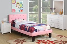 Poundex 3pc Pink Faux Leather Twin Bed Set - @ Home Furnishings of Florida Corp