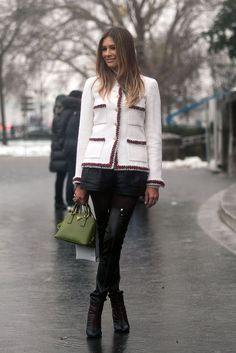 Winter-Style Reboot: 224 Street Snaps to Inspire You Now: Dressed up doesn't have to mean stuffy, and neither do tweed toppers — she balanced hers with slick bottoms and platform booties.  Source: Adam Katz Sinding