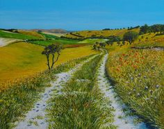 ARTFINDER: Down to Cricketing Bottom by Paula Oakley - A bright array of wild flowers edge the chalk track as it heads down into the valley of Cricketing Bottom. A delightful mid Summer view over the South Downs...