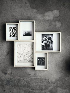 ♅ Dove Gray Home Decor ♅  photo arrangement on concrete wall