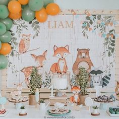 Woodland Backdrop - Woodland Birthday Backdrop, Woodland Party Backdrop, Woodland Baby Shower Backdrop, Woodland Birthday Party Decorations, Bruna Rios added a photo of their purchase Baby Shower Background, Baby Shower Backdrop, Boy Baby Shower Themes, Birthday Backdrop, Birthday Background, Birthday Party Decorations, Party Kulissen, Festa Party, Fox Party