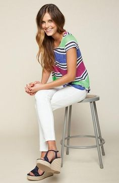 colorful top + white pants
