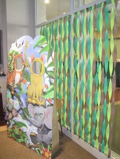 Forest wall for 1st birthday jungle themed party.