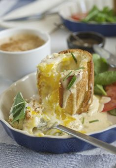 """Baked eggs in Baguette + Smoked Gouda Sauce - a.k.a """"Bageggs"""" ~ Yes, more please! the ultimate breakfast!"""