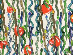 Giulia Rositani Printed Silk Crepe de Chine with Watercolor Snakes and Apples