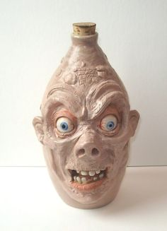 Zombie/Mummy Face Jug (Too Creepy) stoneware One of a Kind! Collectible, signed J Cotton realistic with porcelain eyes and teeth