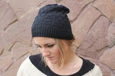 Black beanie slouchy beanie hat for men and women by GeromeSM, $23.00