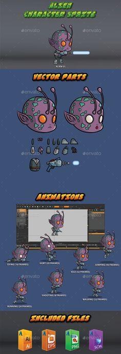 Alien 01 - The purple skin alien - Sprites Game Assets