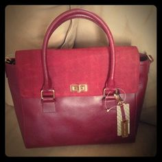 HP! Audrey Brooke suede & leather bag Deep red / maroon leather bag by Audrey Brooke. Can be a handbag or add the extra straps for a shoulder bag. Gold hardware & lots of space for everything you need - perfect everyday bag!!! Work Week Chic Host Pick!!! ❌trades❌lowballing **item just reduced** Audrey Brooke Bags