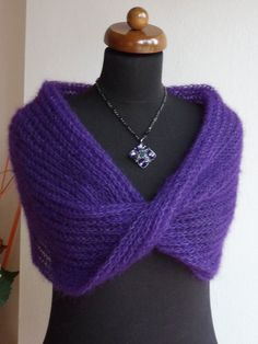 ♯❀ Knitted #circle scarf, Loop scarf, Silk and mohair scarf, violet scarf,... Buy now! http://etsy.me/2h96yic