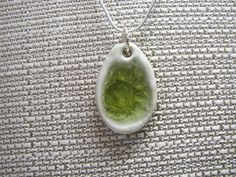 Handcrafted Artisan Recycled Glass and Pottery Necklace - Spring Grass at www.theecotopia.com