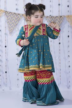Kids Party Wear Dresses, Kids Dress Wear, Cute Dress Outfits, Dresses Kids Girl, Balochi Dress, Kids Outfits, Eid Dresses, Toddler Outfits, Kids Wear