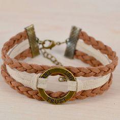 Hand Woven Silver Tone Ring Pendant Brown Weaving Leather Bracelet Best Gift | eBay