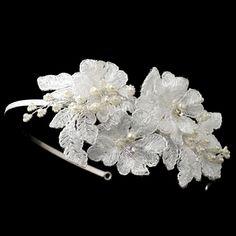 Diamond White Lace Flower Pearl Rhinestone Bridal Wedding Headband Accessory