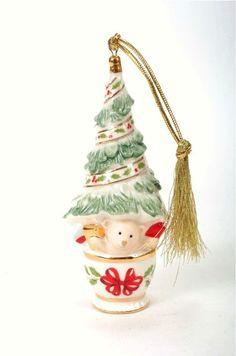 "Lenox Christmas small Tree in ""Holiday"" China pot  Ornament 4.5""H"