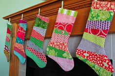 Easy, quick and unique Christmas stockings!  Grab your Layer Cakes and get going!