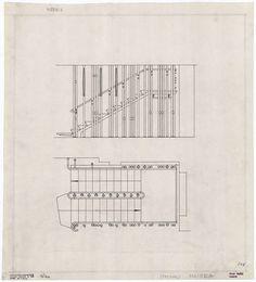 drawing for main stairway   Villa Mairea   Noormarkku, Finland   Alvar Aalto 1938-39